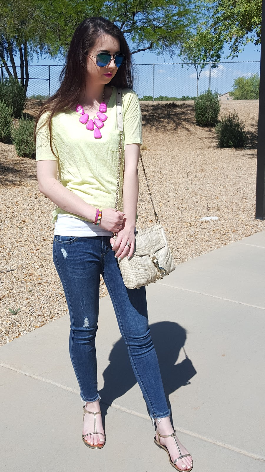colorful tee and accessories- casual Spring outfit idea