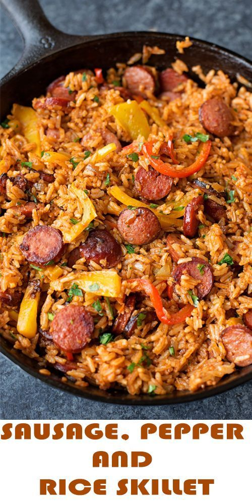 DELICIOUS SAUSAGE, PEPPER AND RICE SKILLET
