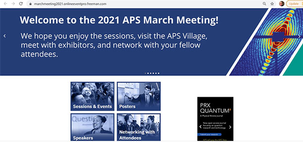 APS March Meeting, online from March 15-19, 2021 (Source: www.march.aps.org)