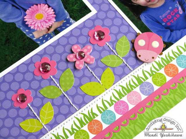 Doodlebug Spring Garden & Kraft In Color Mix & Match Ladybug Layout by Mendi Yoshikawa