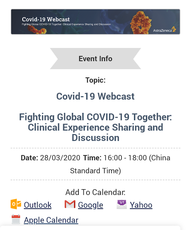 *Webcast Covid-19* yang akan dilaksanakan pada :    Hari        : Sabtu  Tanggal  : 28 Maret 2020  Jam        : 15.00-17.00 WIB  Topik      : Fighting Global COVID-19 Together: Clinical Experience Sharing and Discussion