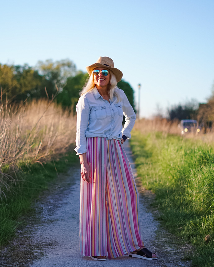 rainbow stripe wide leg pants
