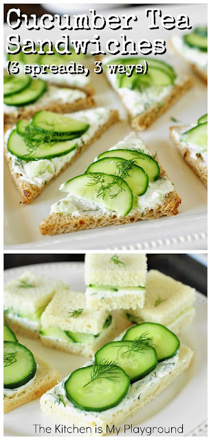 Cucumber Tea Sandwiches ~ 3 spreads & 3 ways, and tips for making the BEST tea sandwiches. So perfect for any occasion!  www.thekitchenismyplayground.com