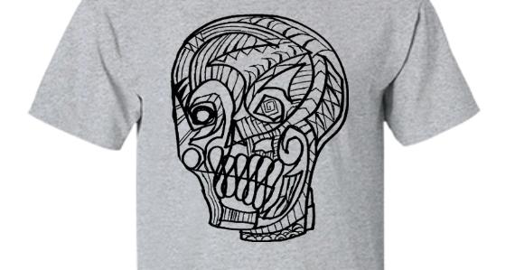 Zombie Art by Jack Larson: Skull Sketch Design, Tshirt