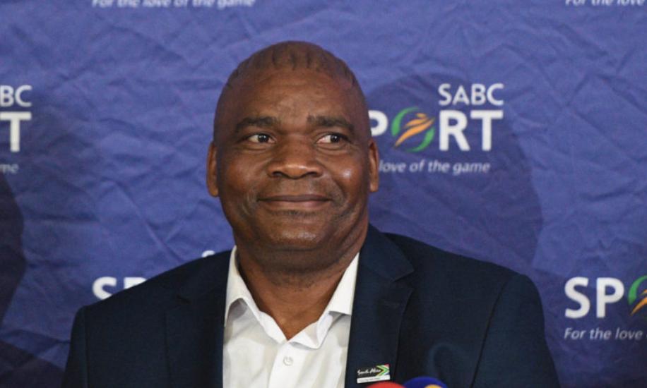 Bafana Bafana head coach Molefi Ntseki speaking at press conference