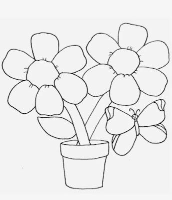 Gambar Sketsa Bunga dan Kupu Kupu