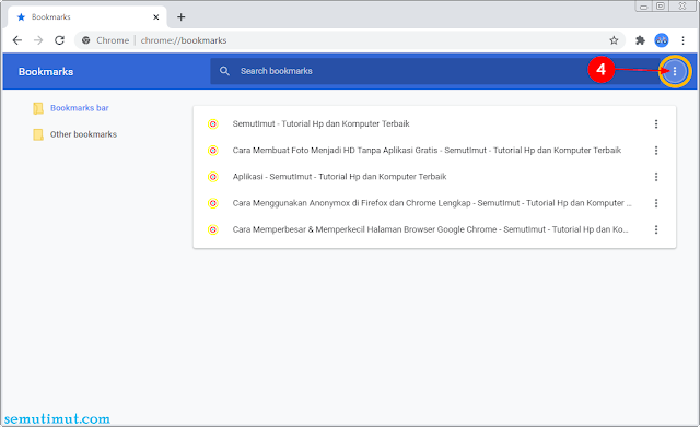 cara export bookmark chrome android