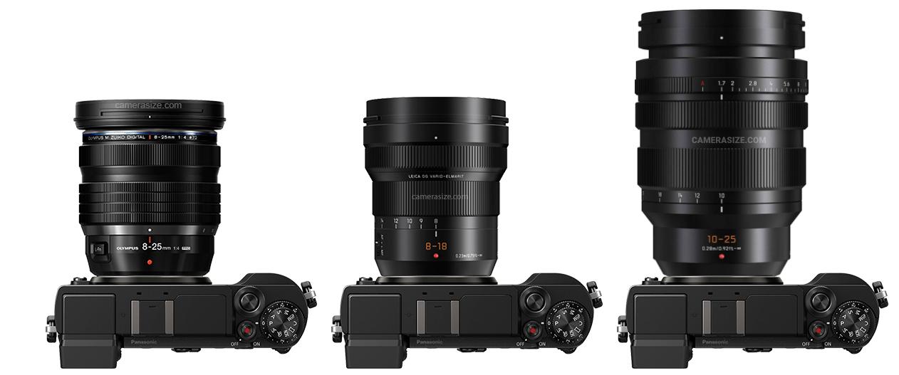 Сравнение габаритов объективов Olympus 8-25mm f/4, Leica 8-18mm f/2.8-4, Leica 10-25mm f/1.7