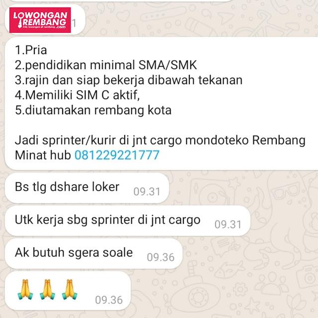 Lowongan Kerja Sprinter (Kurir) J&T Cargo Rembang