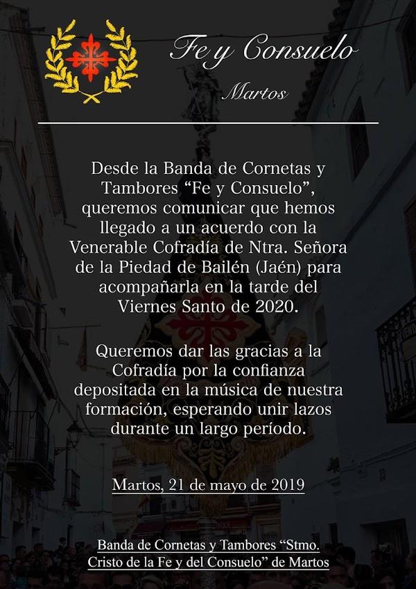 La Piedad de Bailen llega a un acuerdo Banda de Cornetas y Tambores de Fe y Consuelo de Martos