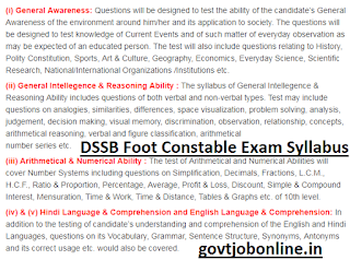 DSSSB Foot Constable Written Exam Pattern and Syllabus