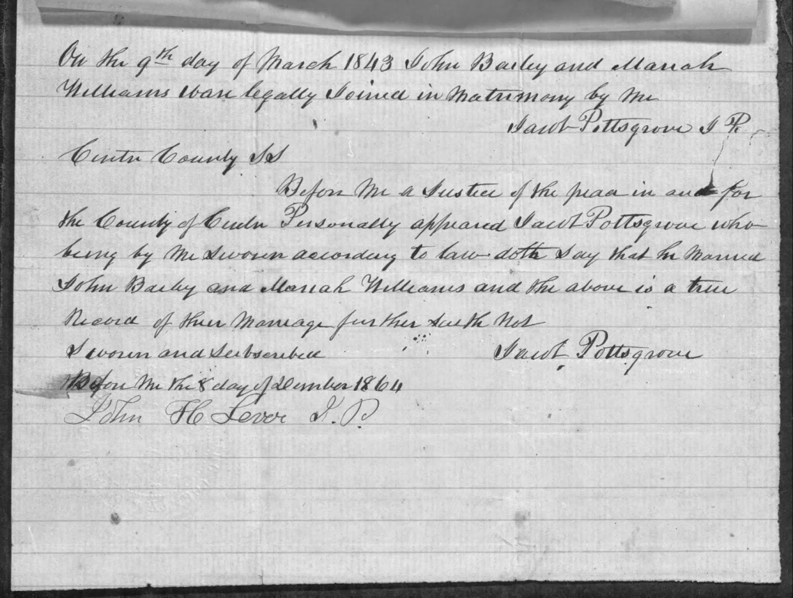 Climbing My Family Tree: Affidavit of Jacob Pottsgrove, J.P.