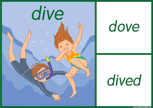 Irregular verb dive - printable ESL flashcards