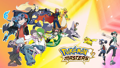 The first Pokemon Masters Stars Blue and his partner Pokemon, In anticipation of the upcoming version of Pokemon Masters