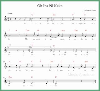 not balok lagu o ina ni keke lagu daerah sulawesi utara