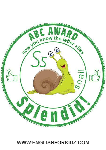 Printable award for ABC learning -- letter s is for snail