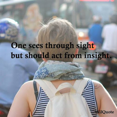 One sees through sight but should act from insight.
