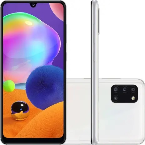"Smartphone Samsung Galaxy A31 128GB Tela 6.4"" 4GB RAM Octa Core Câmera Quádrupla Traseira 48MP + 8MP + 5MP + 5MP Android - Branco"