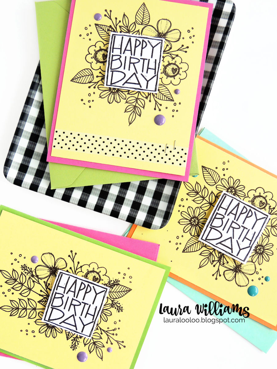 Make a floral birthday card set with simple stamping and supplies from Impression Obsession #iostamps #birthdaycard #cardsets #lauralooloo