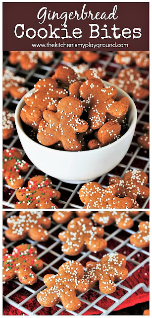 Mini Gingerbread Cookie Bites ~ One perfectly adorable, perfectly-poppable Christmas cookie treat!  Great for gifting, decorating cupcakes or desserts, garnishing Christmas cocktails, or for just popping in your mouth as a smaller Christmas cookie treat.  www.thekitchenismyplayground.com