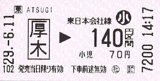 JR厚木駅乗車券
