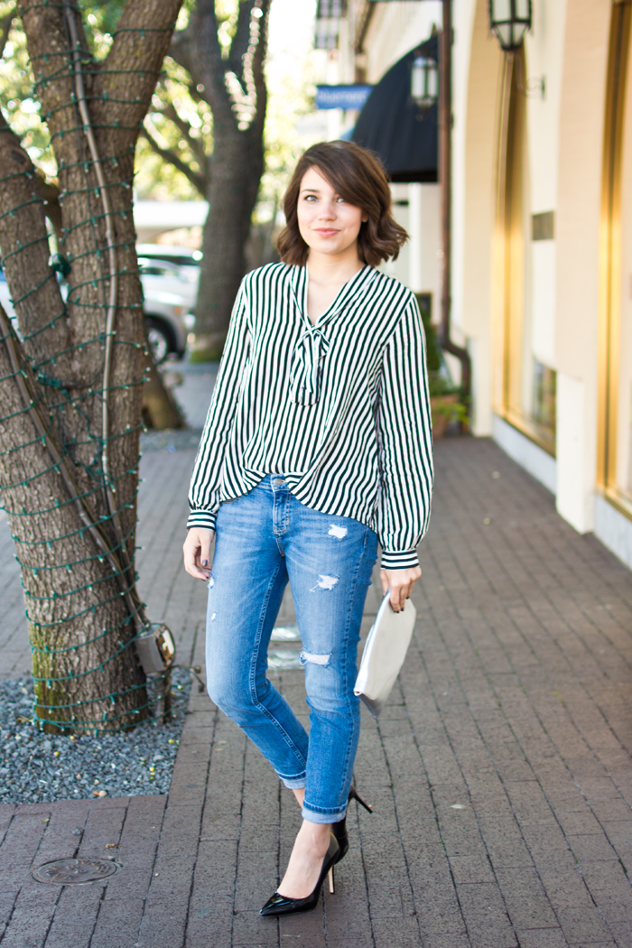 bow blouse, fall fashion, stripe outfit, minimalist