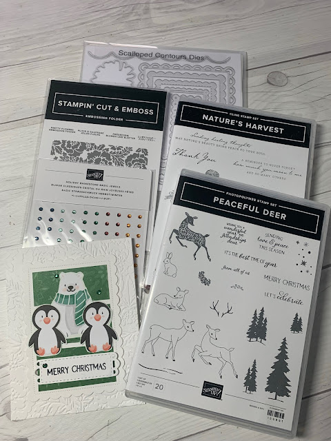 Stampin' Up! tools used to create Handmade penguin-themed Christmas Card using Penguin Playmates Designer Series Paper