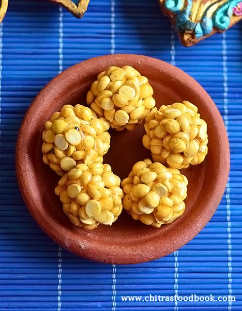 pottukadalai urundai with jaggery