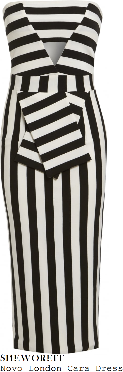 chloe-sims-novo-london-cara-black-and-white-monochrome-stripe-print-strapless-bandeau-cut-out-detail-pencil-dress