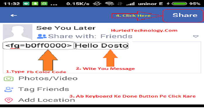 Facebook Par Colorfull Post Kaise Likhe