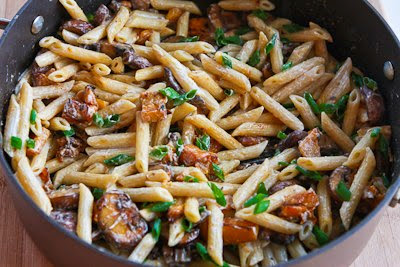 Vegetarian Penne Pasta with Butternut Squash, Mushrooms, and Goat Cheese [KalynsKitchen.com]