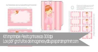 Invitaciones de princesas,bolsitas,etiquetas para imprimir y editar gratis