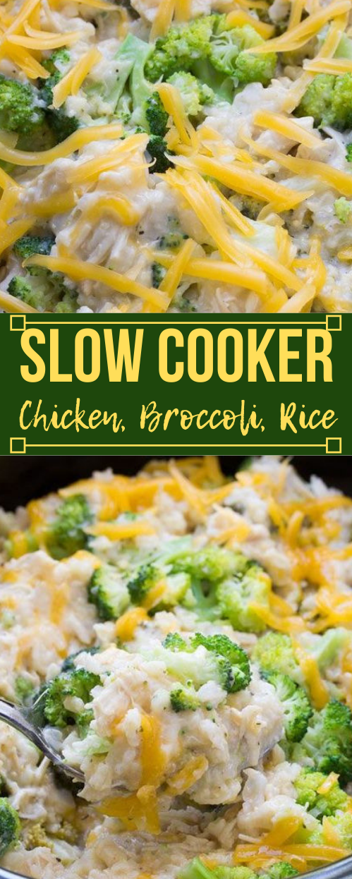 Slow Cooker Chicken, Broccoli and Rice Casserole #lowcarb #whole30 #vegetarian #broccoli #casserole