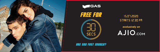 Ajio Gas Free For 30 Seconds Offer