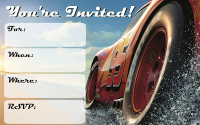 cars 3 free printable invitations