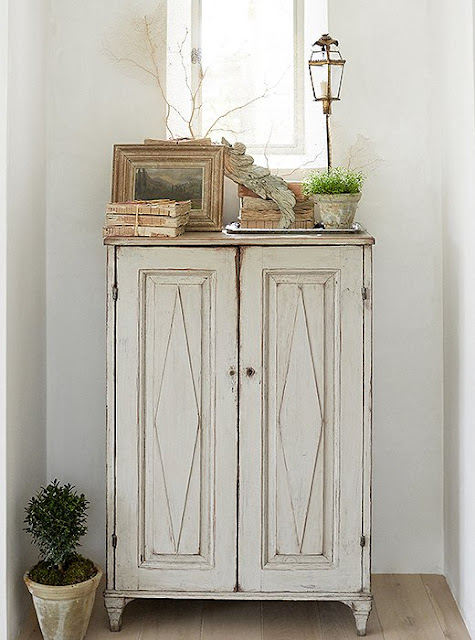 Antique painted Swedish cabinet with accessories by Brooke Giannetti