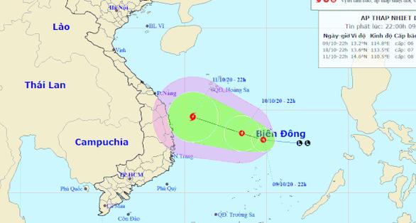 Vùng áp thấp trên Biển Đông mạnh lên thành áp thấp nhiệt đới