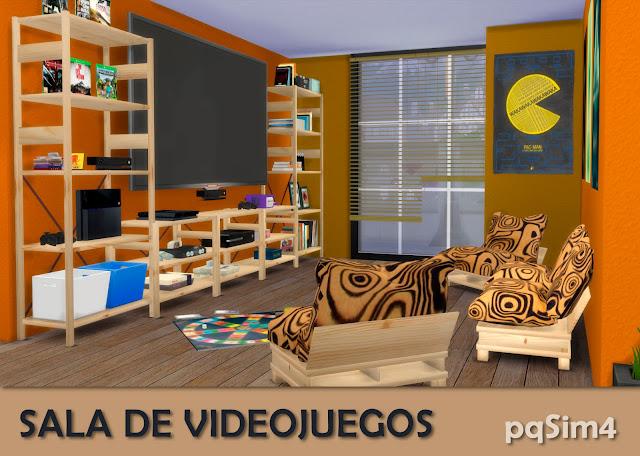 Detalle sala videojuegos sims 4 custom content Naranja.