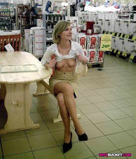 Teen Nude Girl - Flashing at the shop