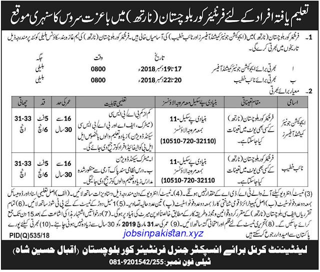 Advertisement for FC Balochistan Jobs 2018