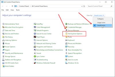 folder options, membuka control panel