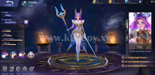 Script Skin Zodiac Odette Virgo Mobile Legends Gratis