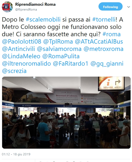 Situazione Trasporto Pubblico Roma martedì 18 giugno