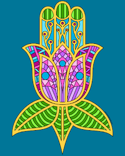 Colored example of a hamsa coloring page available to print and color
