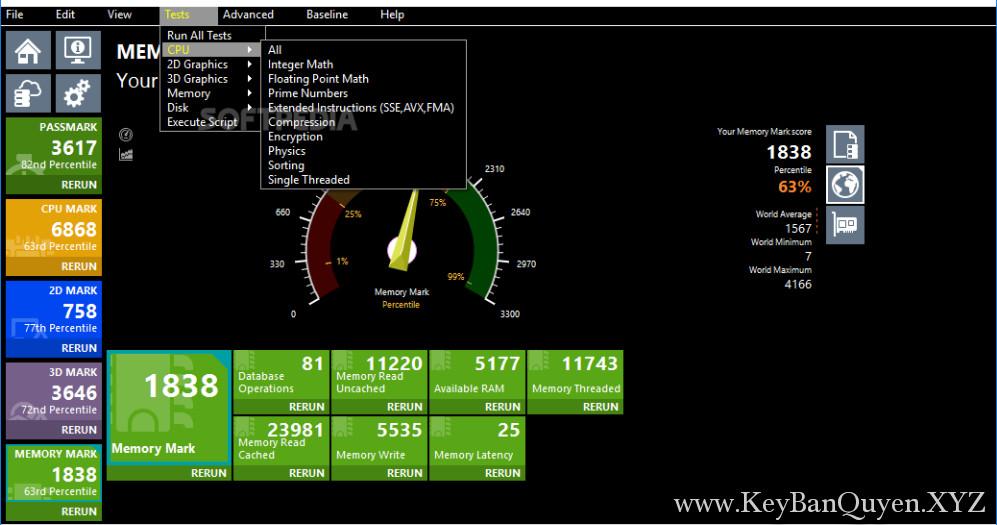 PassMark PerformanceTest 9.0 Build 1028 Full Key, Phần mềm kiểm tra chuyên sâu hệ thống máy tính.