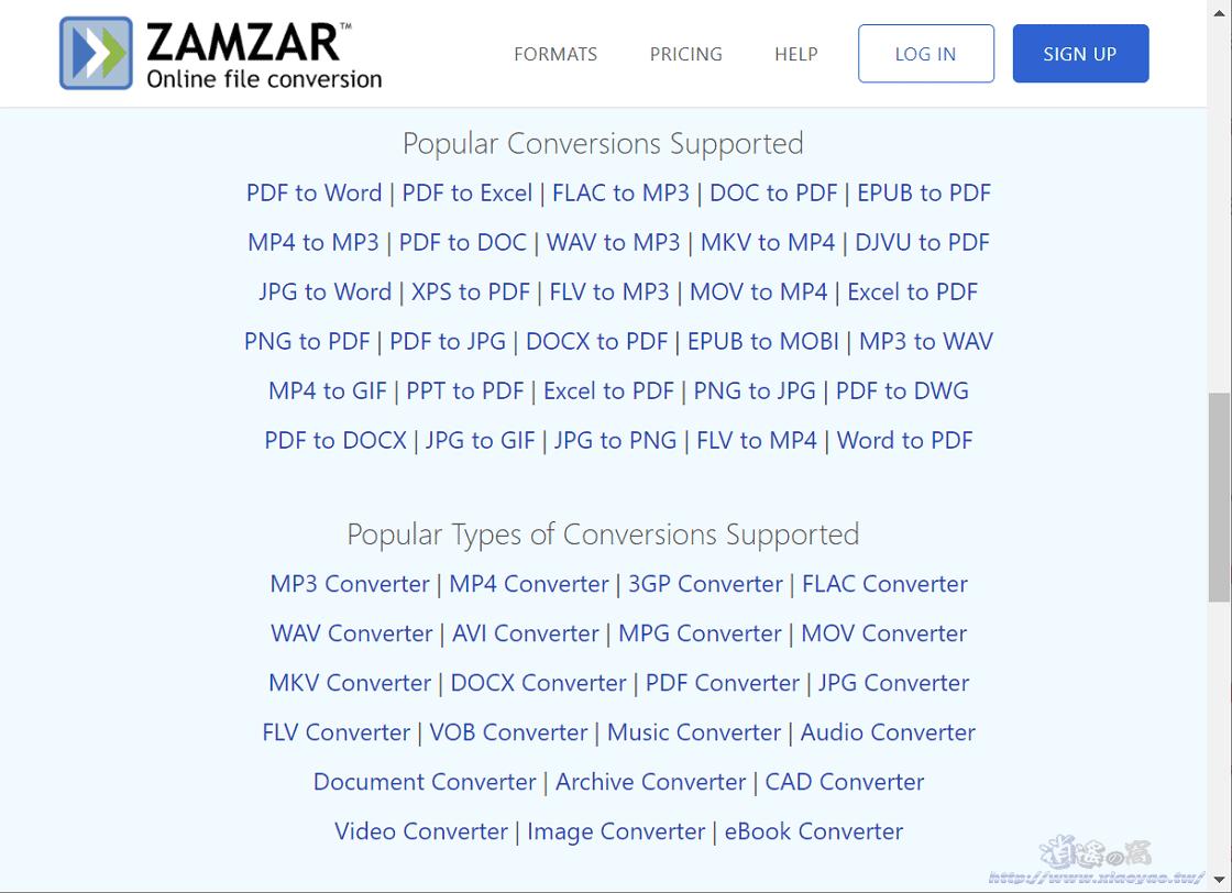 Zamzar 線上檔案格式轉換工具,支援文書、圖片、影音等上千種格式
