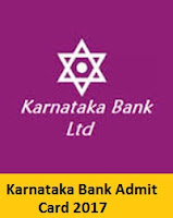 Karnataka Bank Admit Card 2017