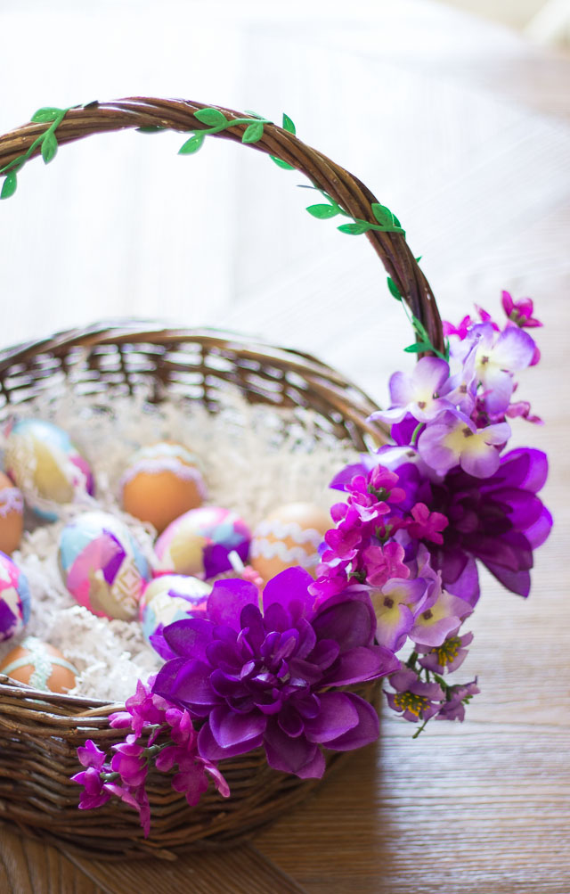 Thrifty diy floral easter baskets design improvised make these gorgeous easter baskets from thrifted baskets and dollar store flowers negle Image collections
