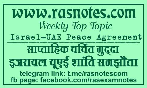 Weekly Top Topic: Israel- UAE Peace Agreement  in hindi | rasnotes.com
