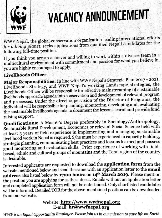 WWF Nepal Vacancy Notice